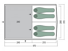 Rodinný stan PINGUIN Interval 4 - modrá pro 4-5 osob