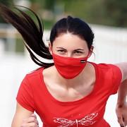 Bambusová skládaná rouška PROGRESS Lite s kapsou na filtr - červená
