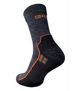 Ponožky FLORES Merino LT - šedý melír/oranžová