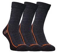 FLORES Merino LT - šedý melír/oranžová - set 3 párů