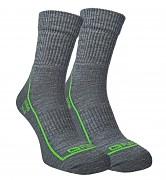 FLORES Merino LT - sv. šedý melír/zelená neon - set 2 párů